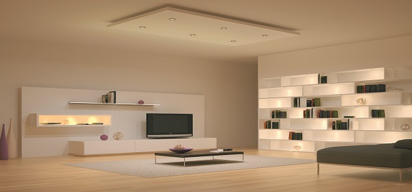 Set Sustainable Light On Your Home With Led Bulbs modern open space living room design lighting system ideas with cool led ceiling recessed and wall shelves concealed lights furniture and accessories creative eye catching home interior led ligh