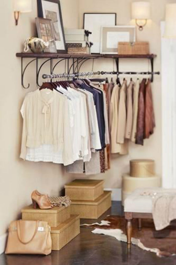 6 Ways to Make your Small Space Feel Huge clothing rack1